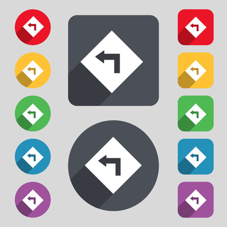 danger ahead: Road sign warning of dangerous left curve icon sign. A set of 12 colored buttons and a long shadow. Flat design.