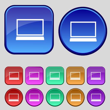 Laptop sign icon. Notebook pc symbol. Set colur buttons. illustration
