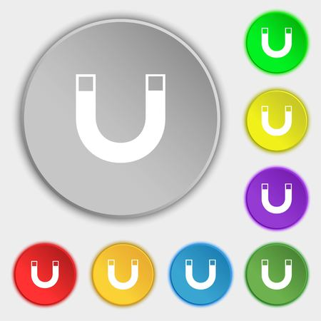 electromagnetic field: magnet sign icon. horseshoe it symbol. Repair sig. Symbols on eight flat buttons. illustration