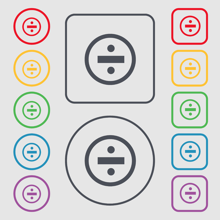 dividing: dividing icon sign. symbol on the Round and square buttons with frame. illustration