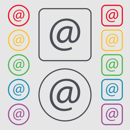 symbols commercial: commercial at. Set Flat modern. Symbols on the Round and square buttons with frame. illustration Stock Photo