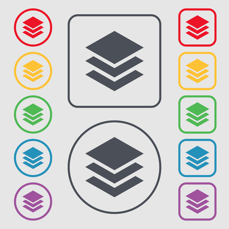 layers: Layers icon sign. Symbols on the Round and square buttons with frame. illustration