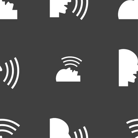 loudy: Talking Flat modern web icon. Seamless pattern on a gray background. illustration