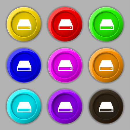 dvd rom: CD-ROM icon sign. symbol on nine round colourful buttons. illustration