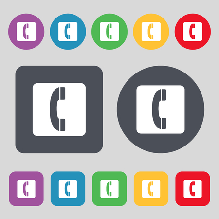 cordless phone: handset icon sign. A set of 12 colored buttons. Flat design. illustration Stock Photo