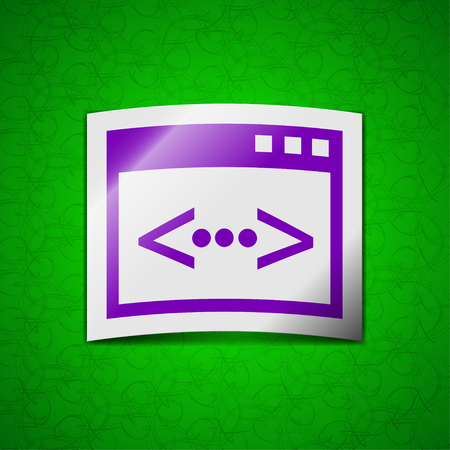 programming code: Programming code icon sign. Symbol chic colored sticky label on green background. illustration