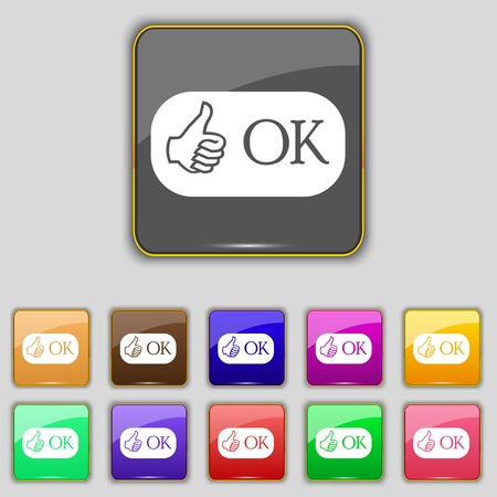 confirm confirmation: Ok sign icon. Positive check symbol. Set of colored buttons. illustration