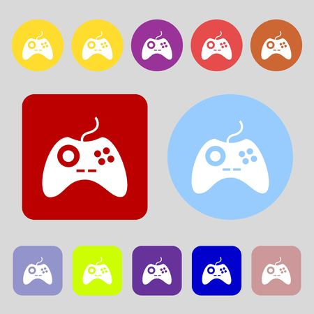 quality controller: Joystick sign icon. Video game symbol.12 colored buttons. Flat design. illustration