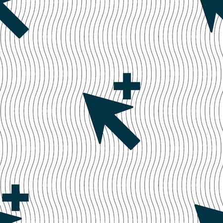 add icon: Cursor, arrow plus, add icon sign. Seamless pattern with geometric texture. illustration Stock Photo