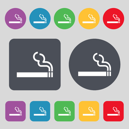 pernicious habit: cigarette smoke icon sign. A set of 12 colored buttons. Flat design. illustration