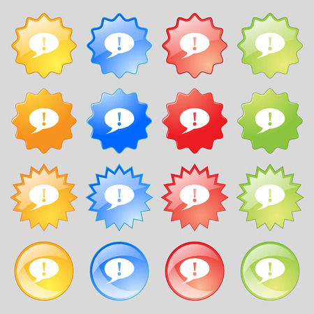 inform information: Exclamation mark sign icon. Attention speech bubble symbol. Big set of 16 colorful modern buttons for your design. illustration Stock Photo