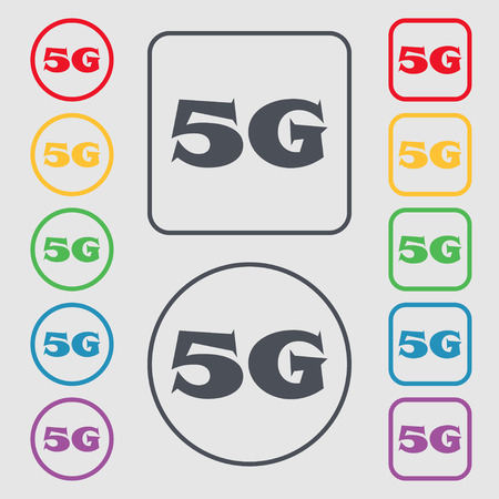5g: 5G sign icon. Mobile telecommunications technology symbol. Symbols on the Round and square buttons with frame. illustration