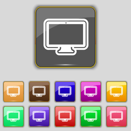 monitor icon sign. Set with eleven colored buttons for your site. illustration Stock Photo