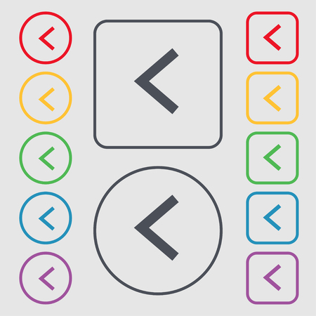 way out: Arrow left, Way out icon sign. symbol on the Round and square buttons with frame. illustration
