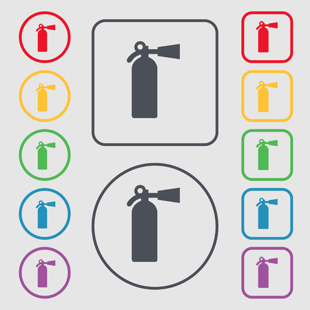 suppression: extinguisher icon sign. symbol on the Round and square buttons with frame. illustration Stock Photo