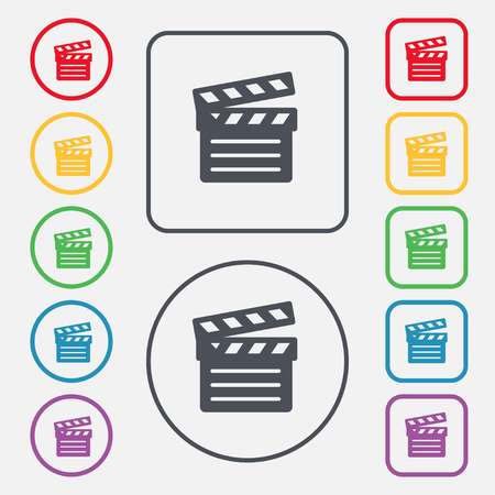 directing: Cinema Clapper icon sign. symbol on the Round and square buttons with frame. illustration