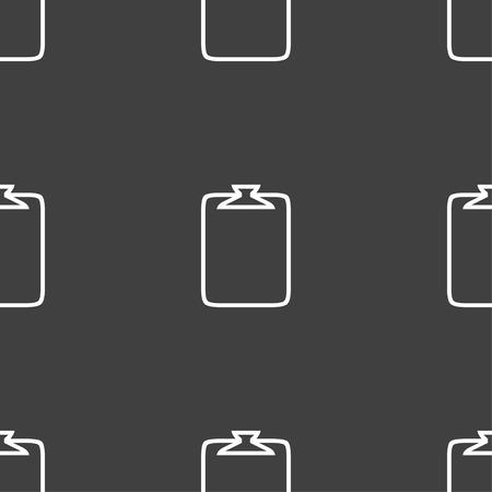 attach: File annex icon. Paper clip symbol. Attach sign. Seamless pattern on a gray background. illustration