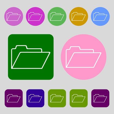 map case: Document folder sign. Accounting binder symbol.12 colored buttons. Flat design. illustration
