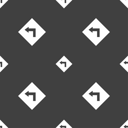 danger ahead: Road sign warning of dangerous left curve icon sign. Seamless pattern on a gray background. illustration
