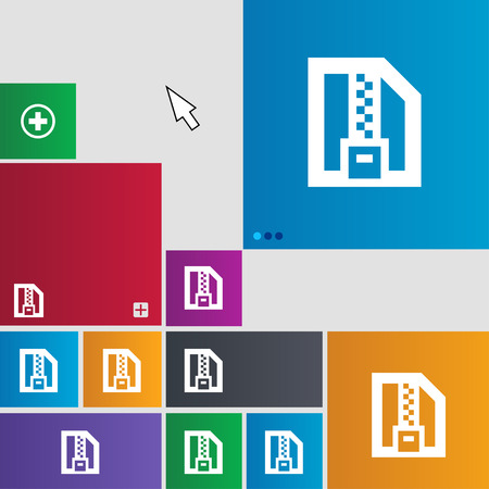 wrapped corner: Archive file, Download compressed, ZIP zipped icon sign. Metro style buttons. Modern interface website buttons with cursor pointer. illustration