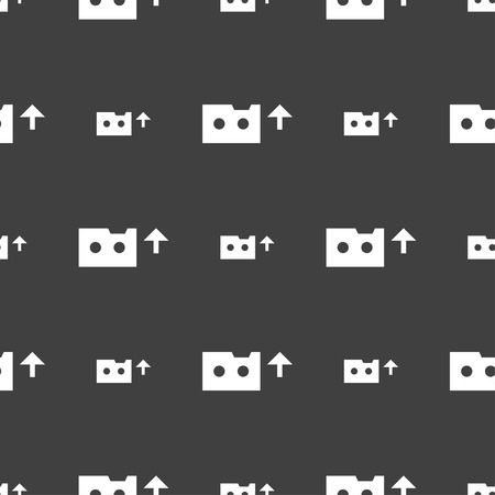 audio cassette: audio cassette icon sign. Seamless pattern on a gray background. illustration