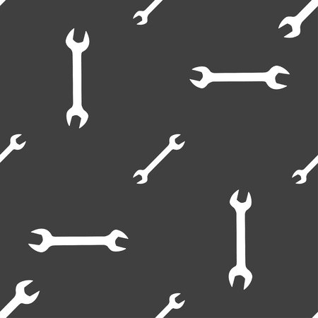 fitter: wrench icon sign. Seamless pattern on a gray background. illustration