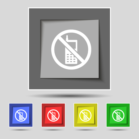 cell phones not allowed: mobile phone is prohibited icon sign on original five colored buttons. illustration Stock Photo