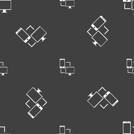 data synchronization: Synchronization sign icon. communicators sync symbol. Data exchange. Seamless pattern on a gray background. illustration