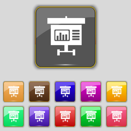 grow money: Graph icon sign. Set with eleven colored buttons for your site. Stock Photo