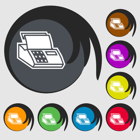 checkout line: Cash register machine icon sign. Symbol on eight colored buttons. illustration