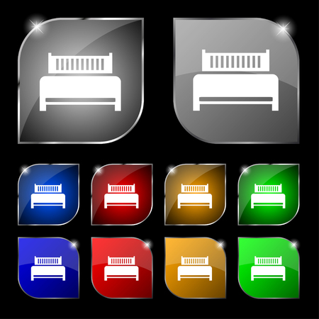 hotel bed: Hotel, bed icon sign. Set of ten colorful buttons with glare. illustration