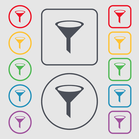 filtering: Funnel icon sign. Symbols on the Round and square buttons with frame. illustration