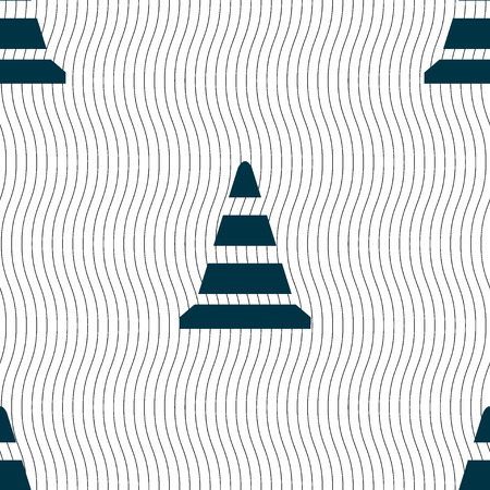 road cone icon. Seamless pattern with geometric texture. illustration