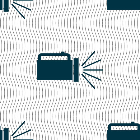 lite: flashlight icon sign. Seamless pattern with geometric texture. illustration Stock Photo