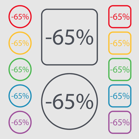 65: 65 percent discount sign icon. Sale symbol. Special offer label. Symbols on the Round and square buttons with frame. illustration