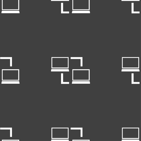 synchronization: Synchronization sign icon. Notebooks sync symbol. Data exchange. Seamless pattern on a gray background. illustration