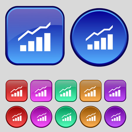 upturn: Growth and development concept. graph of Rate icon sign. A set of twelve vintage buttons for your design. illustration