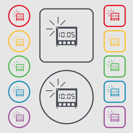 digital clock: digital Alarm Clock icon sign. symbol on the Round and square buttons with frame. illustration