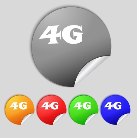 telecommunications technology: 4G sign icon. Mobile telecommunications technology symbol. Set of colour buttons. illustration