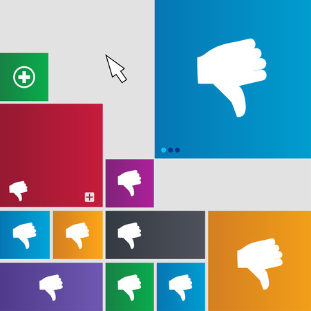 thumb down icon: Dislike, Thumb down icon sign. Metro style buttons. Modern interface website buttons with cursor pointer. illustration