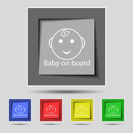bebe a bordo: Bebé a bordo icono de la señal. Infantil en símbolo de precaución coche. Conjunto de botones de colores. ilustración