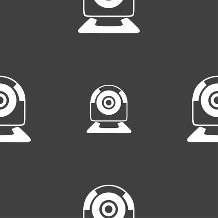 video chat: Webcam sign icon. Web video chat symbol. Camera chat. Seamless pattern on a gray background. illustration
