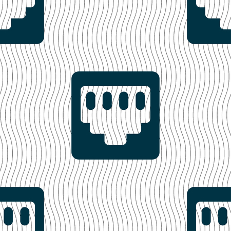 interconnect: cable rj45, Patch Cord icon sign. Seamless pattern with geometric texture. illustration Stock Photo