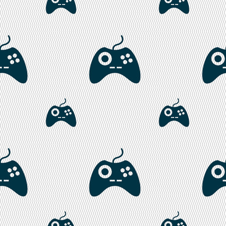 quality controller: Joystick sign icon. Video game symbol. Seamless pattern with geometric texture. illustration