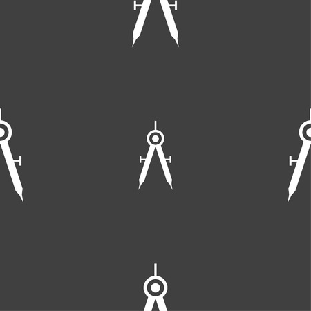 precise: Mathematical Compass sign icon. Seamless pattern on a gray background. illustration Stock Photo