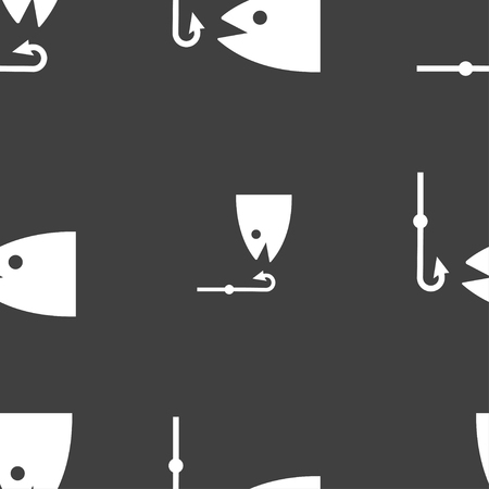 fishing boats: Fishing icon sign. Seamless pattern on a gray background. illustration