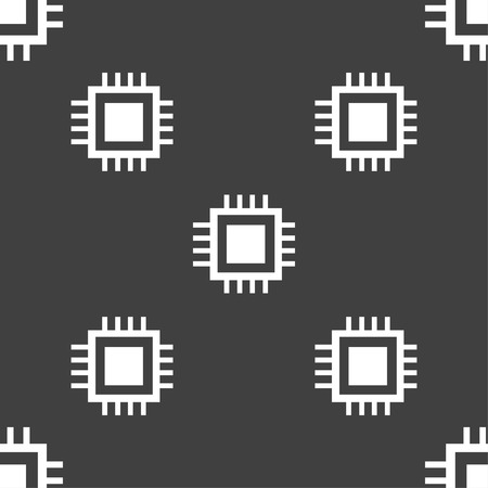 electronic components: Central Processing Unit Icon. Technology scheme circle symbol. Seamless pattern on a gray background. illustration