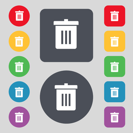 reduce: Recycle bin, Reuse or reduce icon sign. A set of 12 colored buttons. Flat design. illustration Stock Photo