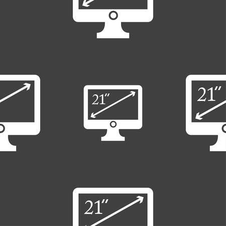 inches: diagonal of the monitor 21 inches icon sign. Seamless pattern on a gray background. illustration