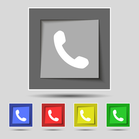 phone support: Phone, Support, Call center icon sign on the original five colored buttons. illustration Stock Photo